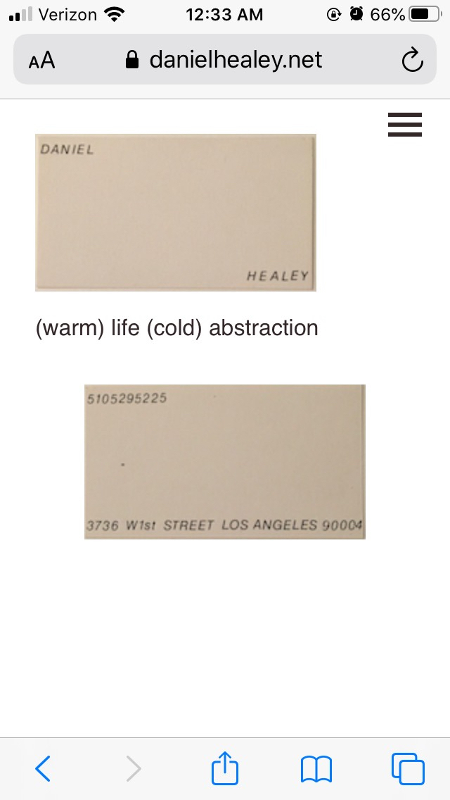 Daniel Healey (warm) life (cold) abstraction