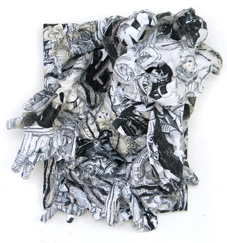 DANIEL ROSENBAUM MACHE SCULPTURE paper mache, canvas,wood,gloves,paper, ink,pencil