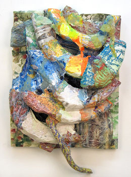 DANIEL ROSENBAUM MACHE SCULPTURE styrofoam,canvas, wood, paper,paint