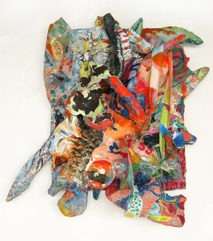 DANIEL ROSENBAUM MACHE SCULPTURE canvas, wood, paper mache, paint, fabric,shoe,styrofoam