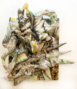 DANIEL ROSENBAUM MACHE SCULPTURE paper mache, paper, pencil, maps,canvas,wood