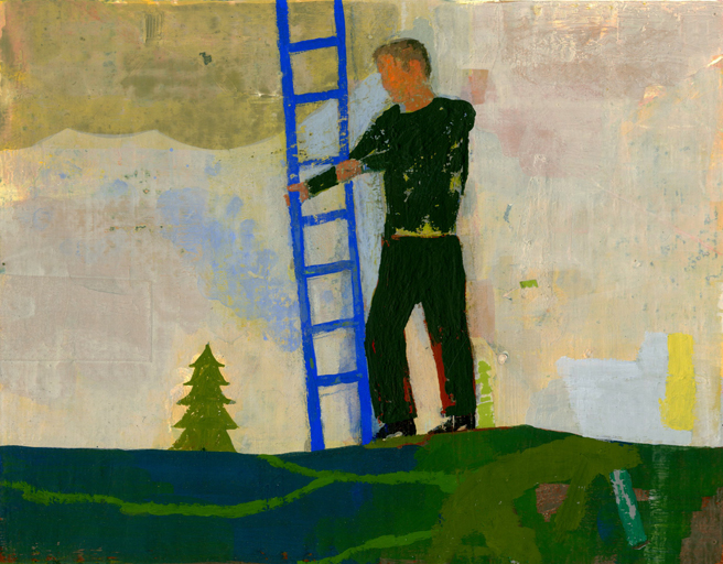 Archive: Paintings on Paper Blue Ladder