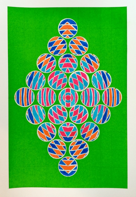 2016 Watercolors 7 x 10 inches Diamond Dot Green (Amagansett Series) -SOLD
