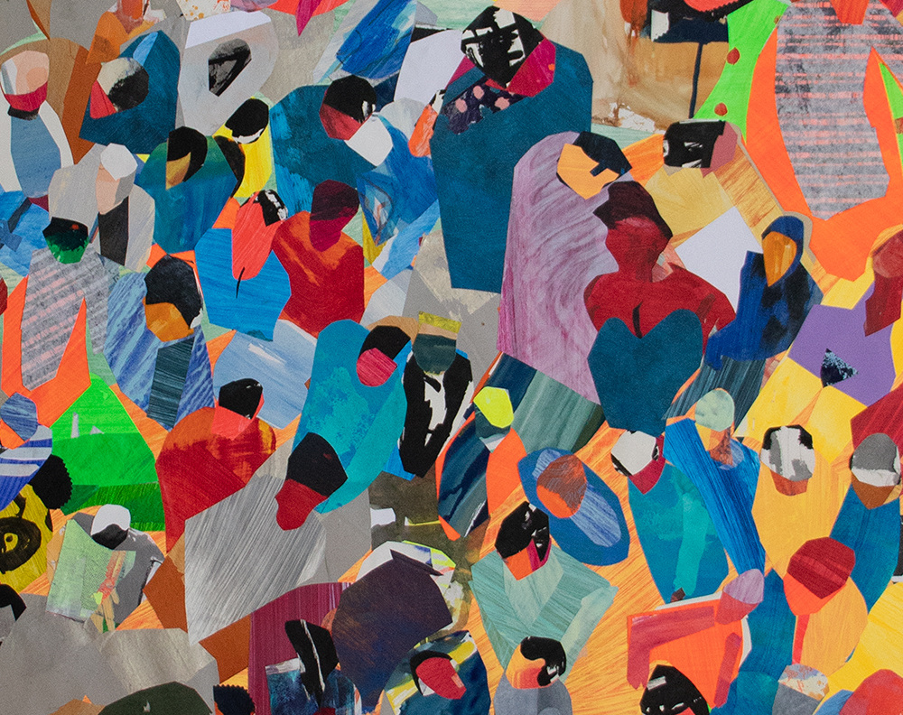 "Works on Paper Detail of ""Gathering Crowd"""