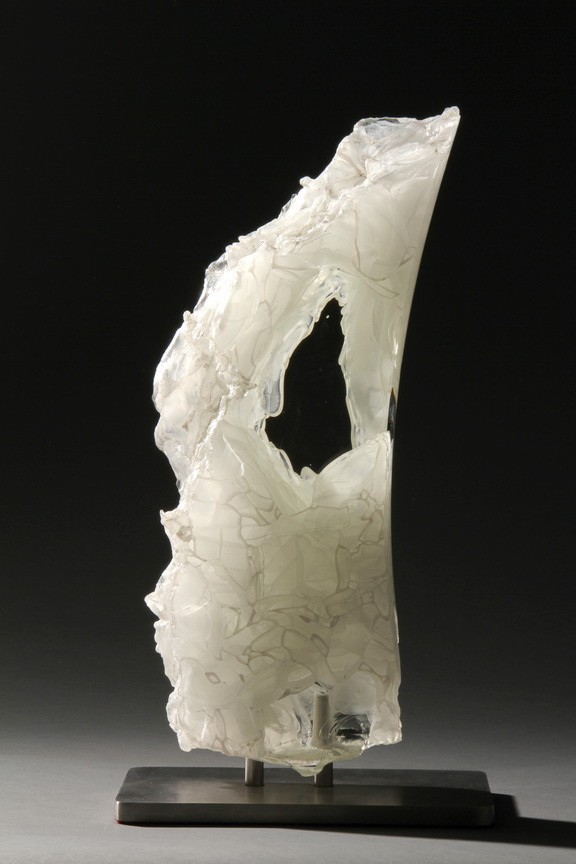 David Ruth Cast Glass Sculpture Tip of Mataiva Glass, stainless steel