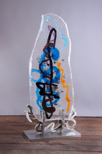 David Ruth Cast Glass Sculpture Pura Gede Glass, stainless steel