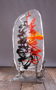 David Ruth Cast Glass Sculpture Tega Glass, stainless steel