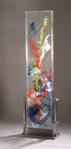 David Ruth Cast Glass Sculpture Hiva Glass, stainless steel