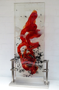 David Ruth Cast Glass Sculpture Liro Glass, stainless steel