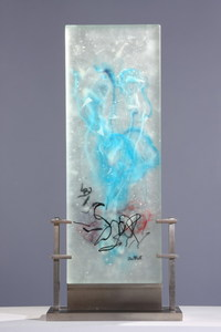 David Ruth Cast Glass Sculpture Darfur Cast, acid etched glass, stainless steel