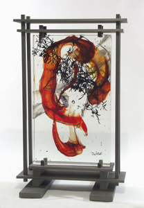 David Ruth Cast Glass Sculpture Four Seasons Glass, steel