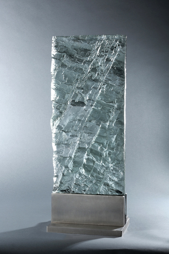 David Ruth Cast Glass Sculpture Geologic Editions Cast Glass and Stainless Steel