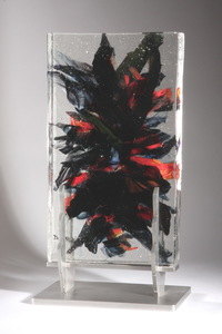 David Ruth Cast Glass Sculpture Yaroi Glass and stainless steel