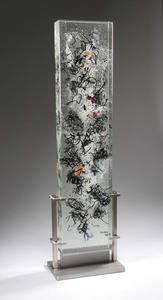 David Ruth Cast Glass Sculpture Holonga Glass, stainless steel