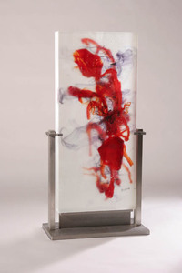 David Ruth Cast Glass Sculpture Jabal Marrah Glass, stainless steel