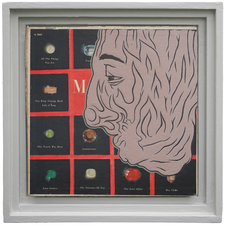 D. Dominick Lombardi - Artist - Writer - Curator Saints, Sinners and the Collective Unconscious (2014-2017)  acrylic medium, acrylic paint, album cover, artist's frame, salvaged wood, nails, screws, plaster, joint compound, latex primer, latex paint