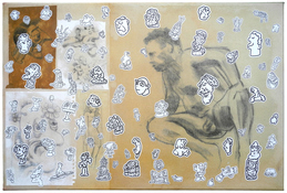 D. Dominick Lombardi - Artist - Writer - Curator Cross-Contamination and Stickers 1998, 2015 & 2018-20 acrylic, ink, graphite and charcoal on paper on canvas