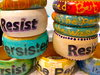 Ms. Beaux Bangles Wood bangles embellished with paint, indigo dye, glitter, gems