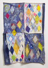 Diamonds Acrylic paint, mixed media on distressed drop cloth, canvas, and fabric