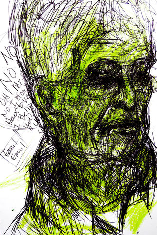 Deborah Decker Mark Making Ink and Green Marker on Paper