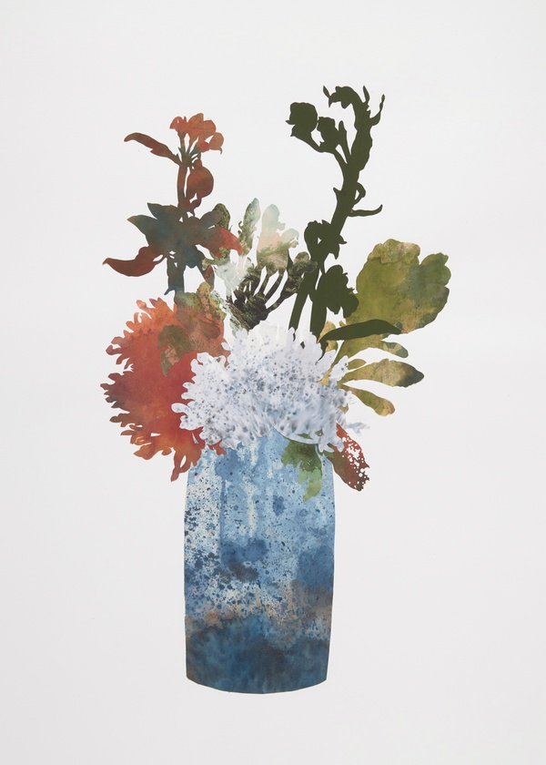 DEBORAH WEISS DAYLIGHT BLOOMS collage with artist's hand dyed papers