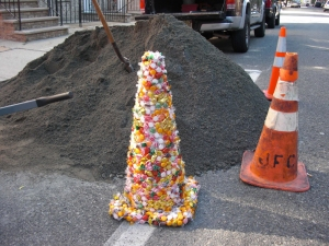 Deborah Pohl Site specific installations/performance Hard candy and traffic cone
