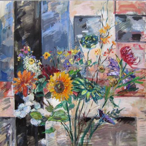 Deborah Sherman Flowers Acrylic on cancas