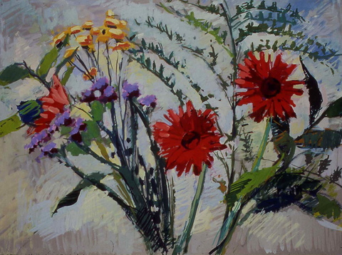 Deborah Sherman Flowers gouache on board