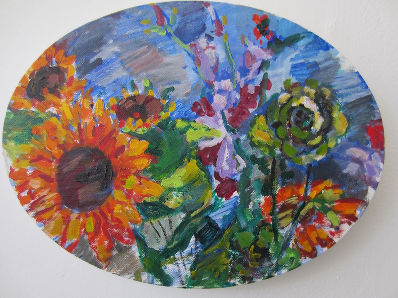 Deborah Sherman Flowers acrylic on linen