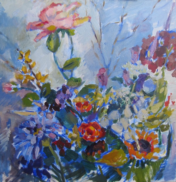 Deborah Sherman Flowers oil on board