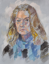 Deborah Sherman Portraits and Figures Gouache on grey paper