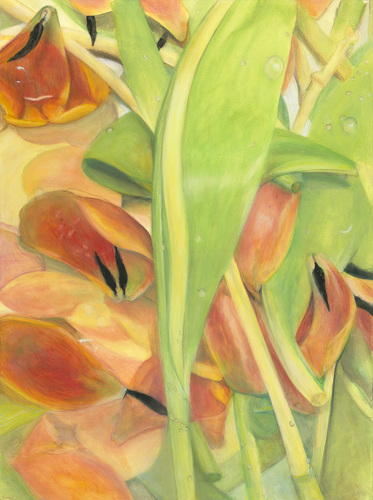 Debra Radke Botanicals Acrylic and Pastel on Rives BFK