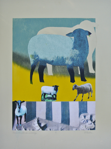 Debra Radke Sheep  Mixed Media collage on Somerset paper
