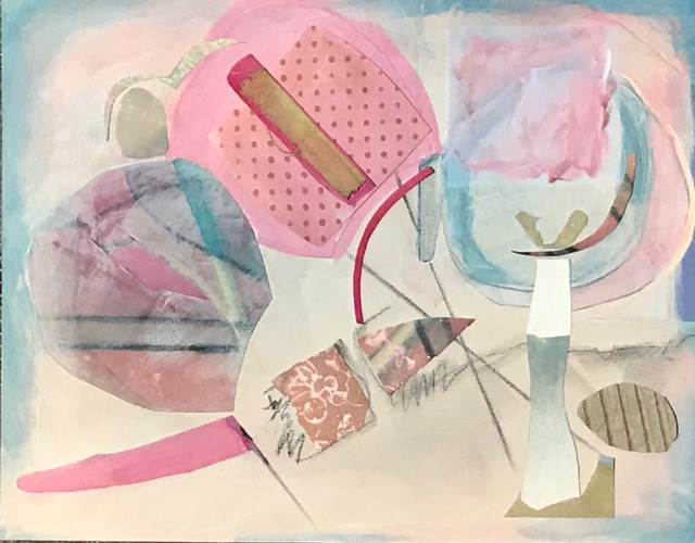 Debra Radke Abstract Realities Acrylic, monoprint, papers and pastel on wood