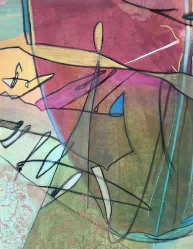 Debra Radke Abstract Realities Acrylic and Pastel on Monoprint