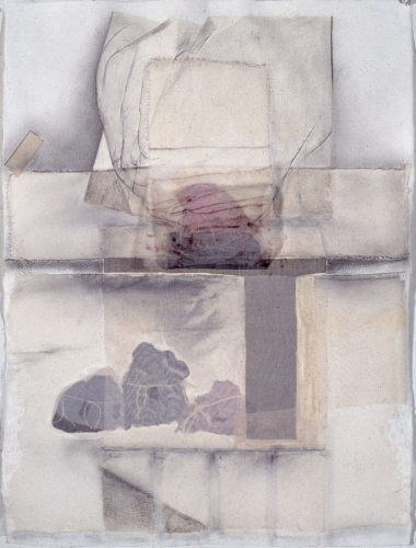 Debra Radke Thresholds Graphite, lint, string and silk on watercolor paper