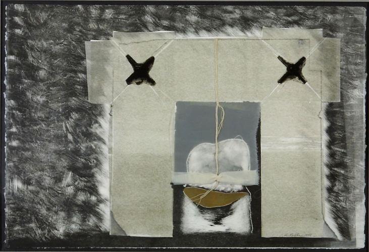 Debra Radke Thresholds Collage Monoprint with Gold leaf, silk and string