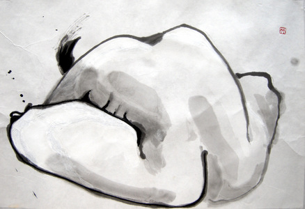 Deirdre Kennedy Life Drawing Sumi-e, Watercolor Sumi-e on Rice Paper