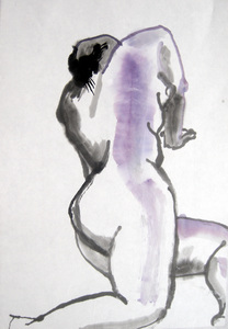 Deirdre Kennedy Life Drawing Sumi-e, Watercolor Watercolor and Sumi-e on Rice Paper