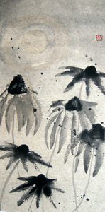 Deirdre Kennedy Flowers Sumi-e on Rice Paper
