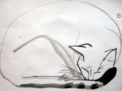 Deirdre Kennedy Life Drawing Sumi-e, Watercolor Sumie on Rice Paper
