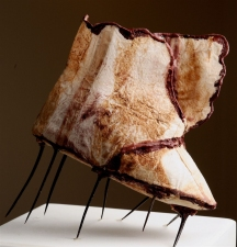 Diane Gabriel Sculpture Tea bags, encaustic, Hawthorns, plaster