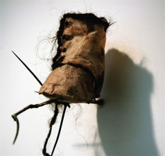 Diane Gabriel Sculpture Tea bags, hair, hawthorn branch