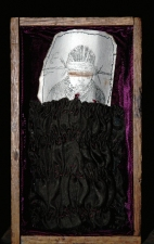 Diane Gabriel Sculpture Original etching, fabric,thread,wooden box