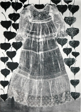Diane Gabriel Prints Constructed Fabric, Cotton wood leaves, Monotype