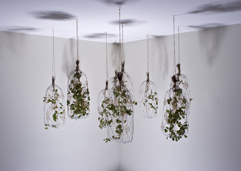 Diane F. Ramos Untitled (Cages) Chicken Wire, Crocheted Wire, Grape Ivy, Twine