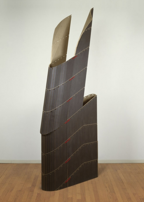 Diane Simpson Historical (1984-1990) stained MDF, linen canvas, nylon cord, plastic fasteners