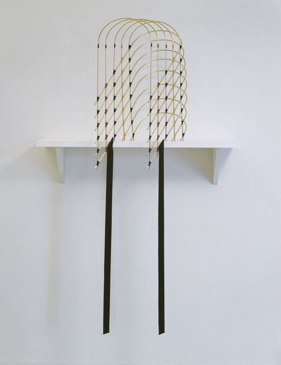 Diane Simpson Headgear (1990-1996) brass tube, waxed linen thread, fabric