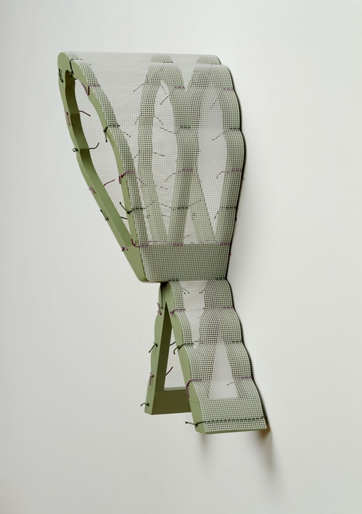 Diane Simpson Headgear (1990-1996) acrylic on MDF, vinyl mesh, silk cord