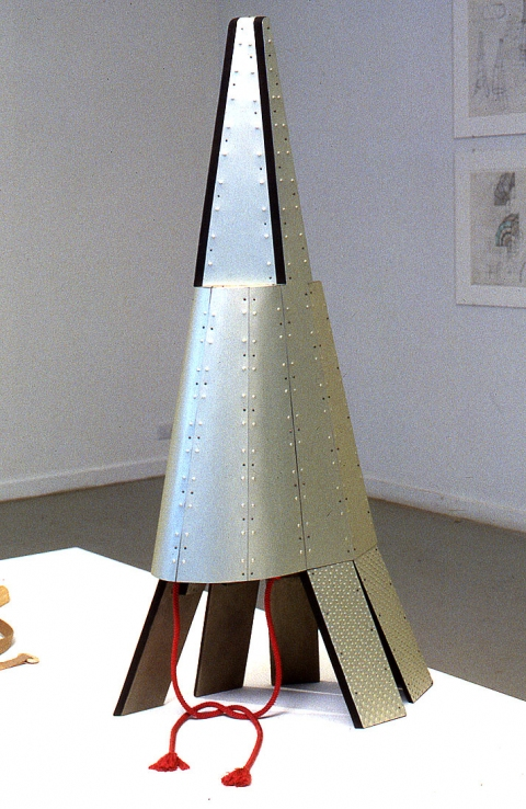 Diane Simpson Headgear (1990-1996) stain/acrylic on MDF, aluminum, steel tacks, silk cord